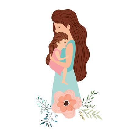 mother lifting daughter with floral decoration vector illustration design Ilustração