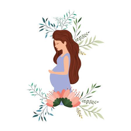 mooie moederzwangerschap met bloemenkader vectorillustratieontwerp Vector Illustratie