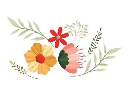 rose and leafs decorative icon vector illustration design