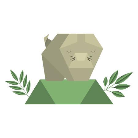 cat origami paper in the field vector illustration design