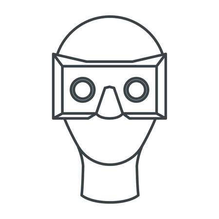 user with reality virtual mask technology vector illustration design