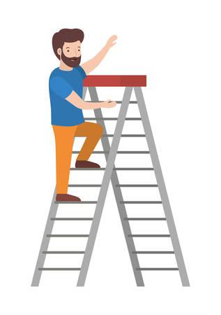 man climbing stepladder character vector illustration design Illustration