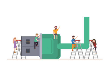 minipeople team working in usb cable vector illustration design