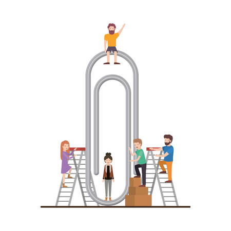 minipeople team working in paper clip vector illustration design