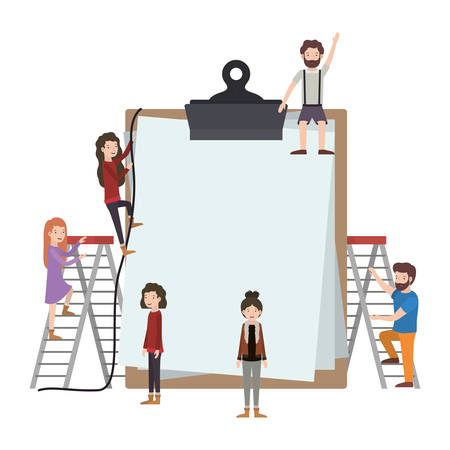 minipeople team working in clipboard vector illustration design