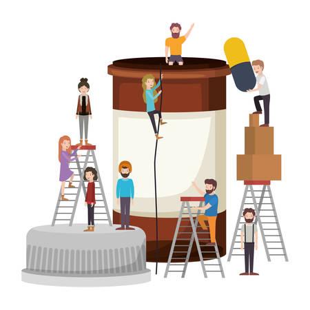 minipeople team working in bottle drugs vector illustration design