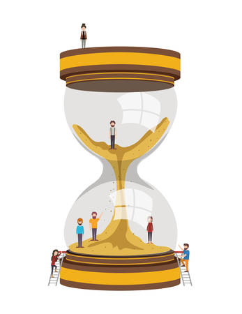 minipeople team working in hourglass vector illustration design Illustration