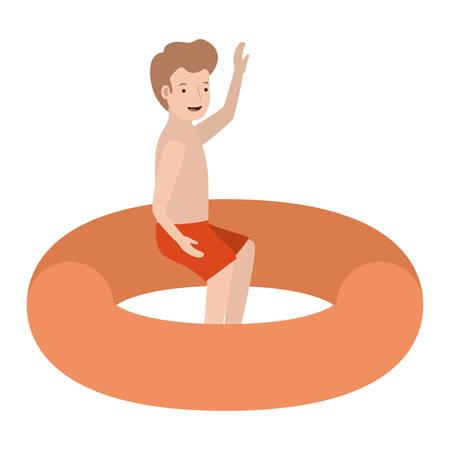 man in float character vector illustration design