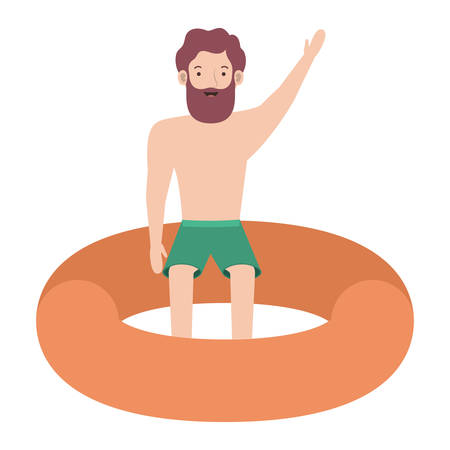 man in float character vector illustration design
