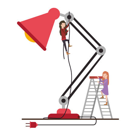 minipeople team working in desk lamp vector illustration design Illustration