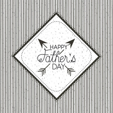 happy fathers day card with arrows crossed vector illustration design