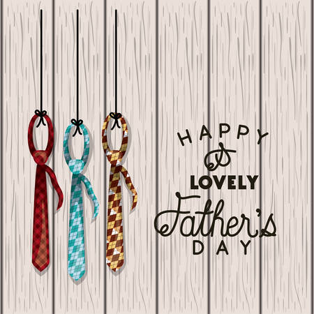 happy fathers day card with elegant ties over wooden background
