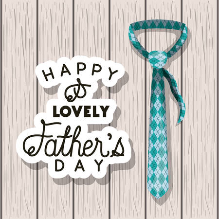 happy fathers day card with elegant tie over wooden background