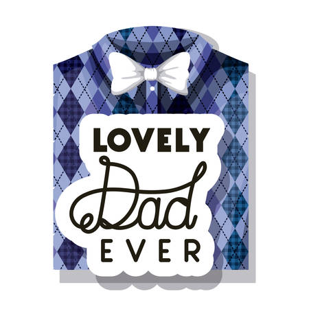 happy fathers day card with elegant shirt and bowtie vector illustration design