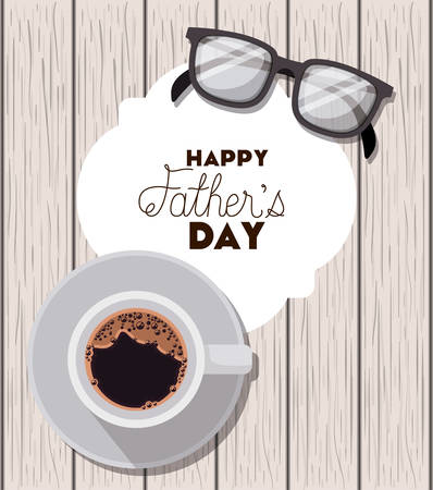 happy fathers day card with glasses over wooden background