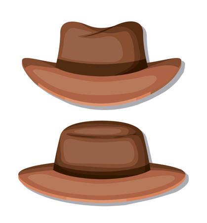 elegant hat masculine icons vector illustration design