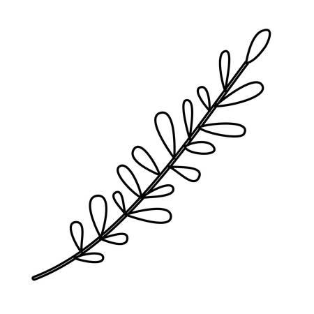 rama con hojas decorativas icono vector ilustración diseño