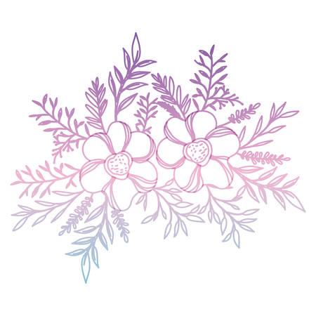 flower and leafs decorative icon vector illustration design Illustration