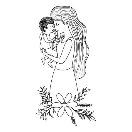 mother lifting son with floral decoration vector illustration design Illustration