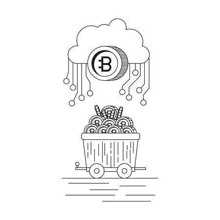 bitcoin with cloud and mining truck vector illustration design Illustration