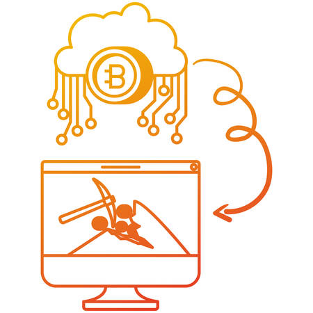 bitcoin cryptocurrency set icons vector illustration design
