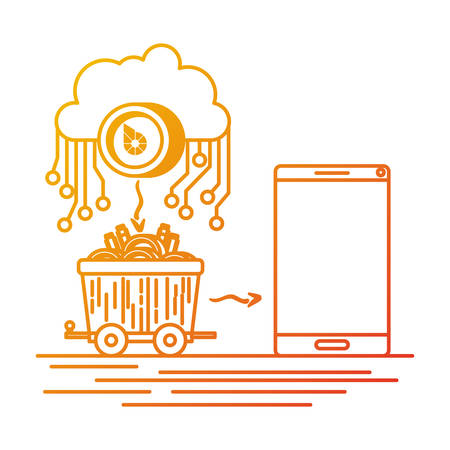 bitshares with cloud and mining truck vector illustration design