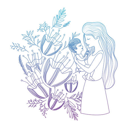 mother lifting son with floral decoration vector illustration design Illustration