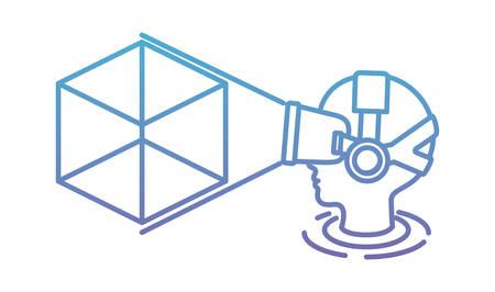 Usuario con tecnología de máscara virtual de realidad y diseño de ilustración de vector de cubo