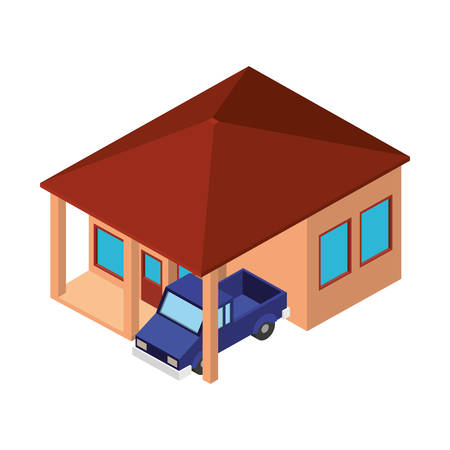 exterior house with car parking isometric icon vector illustration design