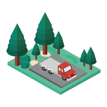truck in the parking zone isometric vector illustration design