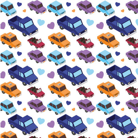 set cars isometric pattern background vector illustration design