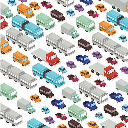 set cars and trucks isometric pattern background vector illustration design