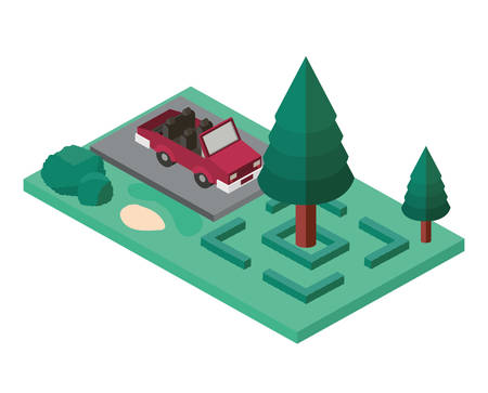 convertible in the parking zone isometric vector illustration design Vectores