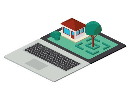 computer laptop and building scene isometric icon vector illustration design