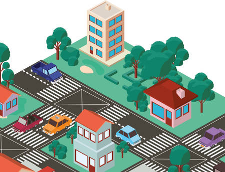 city scape isometric scene vector illustration design Standard-Bild - 102458434