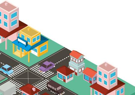 city scape isometric scene vector illustration design