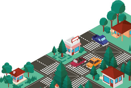 city scape isometric scene vector illustration design