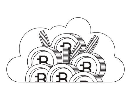 cloud with bitcoin commerce technology icon vector illustration design Vettoriali