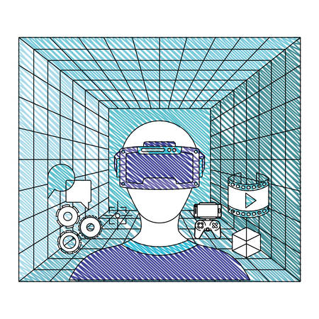user with reality virtual mask and set icons technology vector illustration design