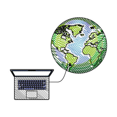 world planet with laptop computer vector illustration design