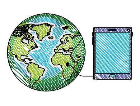 world planet with tablet device vector illustration design