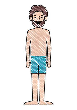 young man beard with swimsuit avatar character vector illustration design