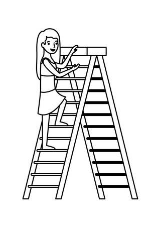 Frau, die Trittleiter mit Badeanzugcharaktervektorillustrationsentwurf klettert
