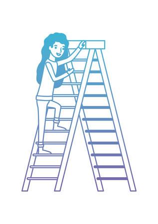 woman climbing stepladder character vector illustration design