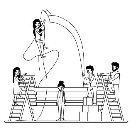 minipeople team working in chess piece vector illustration design Illustration