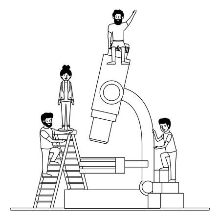 minipeople team working in microscope vector illustration design