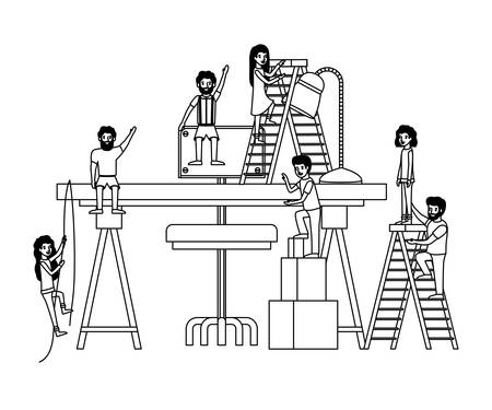 minipeople team working in workplace vector illustration design