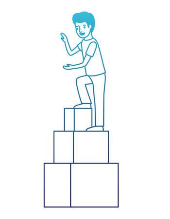 man climbing stepladder character vector illustration design