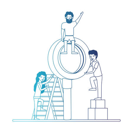 minipeople team working in magnifying glass vector illustration design