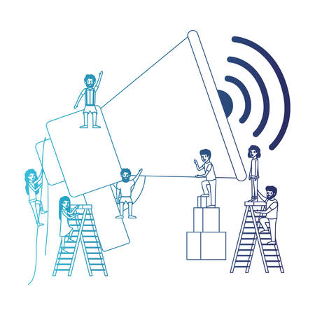 minipeople team working in megaphone vector illustration design